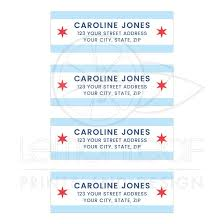 Printed Return Address Label Chicago Flag Mailing Return Address Labels
