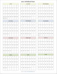 School Calendar Templates Free Printable Academic Calendar For 2017 2018 School Year