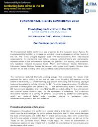 fundamental rights conference european union agency for  conclusions