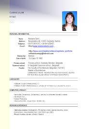 Curriculum Vitae Format For Teaching Job