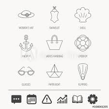 Paper Boat Shell And Swimsuit Icons Lifebuoy Glases And