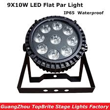 Dj Led Par Light Us 125 0 Free Shipping High Quality New Ip65 Waterproof Led Par Light 9x10w Rgbw 4in1 Led Flat Par Cans For Professional Stage Dj Lights In Stage