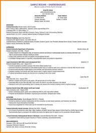 Undergraduate Resume Sample Best Business Template