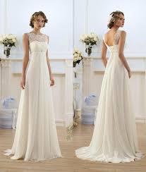 lace chiffon empire wedding dresses 2017 sheer neck capped sleeve