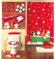 Amazon Com 16 Piece Christmas Themed Bathroom Set Holiday Reindeer Santa Shower Curtain Hooks Toilet Lid Cover Tank Cover Contour Rug Home Kitchen