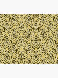 Gold Damask Background Mustard Gold Damask Pattern Floral Retro Design Duvet Cover