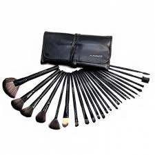 24 piece mac makeup brush set with leather pouch mac 24 piece professional