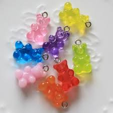 10 pieces resin gummy bear candy necklace charms very cute keychain pendant necklace pendant for diy