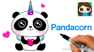 how to draw a pandacorn cute and easy