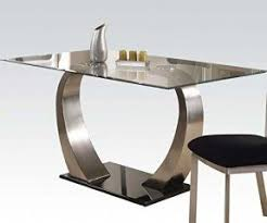 room modern camille glass: acme furniture  camille glass top dining table with metal