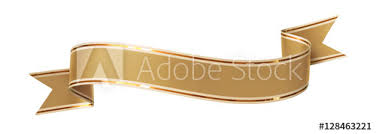 gold ribbon border curled golden ribbon banner with gold border arc up and down with