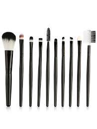10pcs ultra soft eye blending makeup brush set black