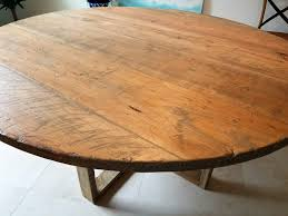 distressed weahtered oak round farm table