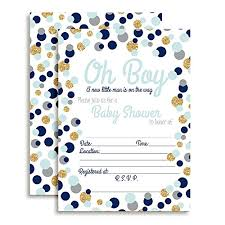 Polka Dot Invitations Blue Gold Polka Dot Baby Shower Invitations Boy