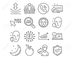 Set Of Face Search Chart And Group Icons Quick Tips Resilience And Online Documentation Signs Face Detect Data Analysis Symbols Find User