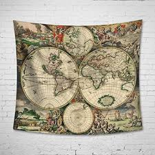antique map tapestry wall hanging uphome light weight polyester fabric wall decor 60 quot on antique cloth wall art with amazon antique map tapestry wall hanging uphome light weight