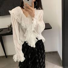 Designer Womens White Blouse 2019 Brand Designer Women Ruffles White Blouse 2019 Spring Autumn Fashion V Neck Flounced Long Sleeve Loose Party Shirts Casual Tops From Styleme