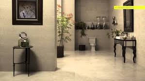 natural interceramic tile flooring with interior potted plants for modern bathroom design