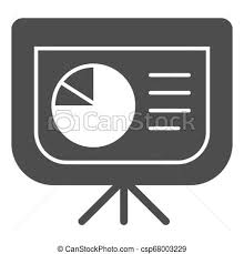 Board With Pie Chart Solid Icon Presentation Diagram Vector Illustration Isolated On White Graph Glyph Style Design Designed For Web And App Eps