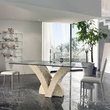 Italian Glass Dining Table Modern Dining Table In Fossil Stone With Glass Top At My Italian