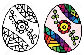 easter egg with red flower and ornate pattern for coloring book for and design elements