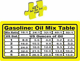 gas oil mixture table 2 cycle engines