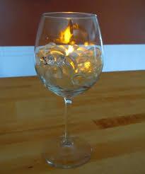 wine glass tea light holder