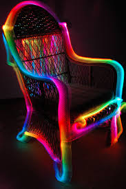 Neon glowing party chair...funky! I could paint my planter boxes by
