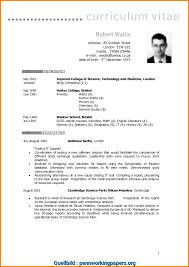 English Curriculum Vitae Ausgezeichnet English Cv Model Cv Resume Example Uk Example