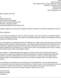 Resume Example Sample Cover Letter For Substitute Teacher Resume