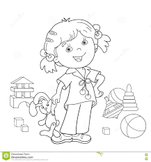 Small Picture Coloring Page Outline Of Cartoon Girl With Toys Stock Vector