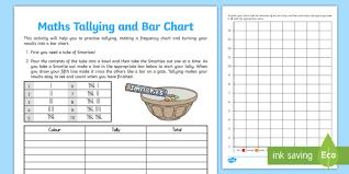 Make A T Chart Smartie Maths Tallying And Bar Chart Worksheet Worksheet
