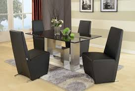 black granite not glass dining table and 6 chairs