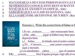 Spanish Saber And Conocer No Prep Worksheet Practice
