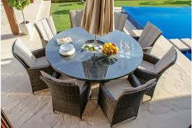 la 8 seater with ice bucket round garden furniture set in grey rattan colour image