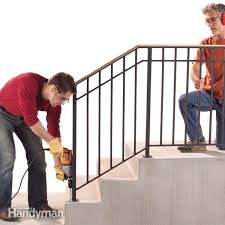 install an outdoor stair railing