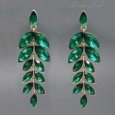 18k gold plated green crystal rhinestone drop dangle chandelier earrings 00165