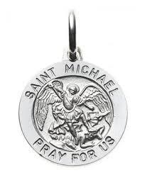 14k white gold st michael medal