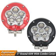 Defender Flood Lights Us 42 9 5 Inch 60w 4x4 Led Headlight Round Led Driving Light For Defender Wrangler Tj Jk 12v 24v Black Red Off Road External Light X1pc In Car Light