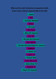 Uk Music Video Chart 4music Who Are The Main Television Companies Which Show Music Videos