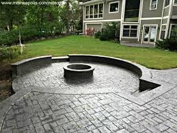 most inspiring stamped concrete patio with raised firepit minneapolis stamped concrete patio with
