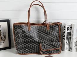 mm goyard anjou slim top handles chevron pattern las reversible leather tote bag black brown