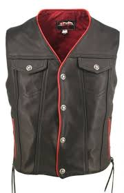 men s black and red leather vest