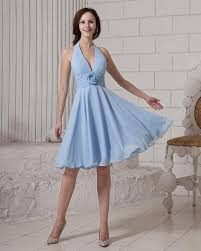 Blaues Brautjungfernkleid Kurz A Linie Chiffon Kleider Für ...