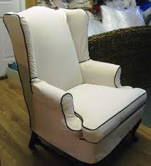 Accent Wingback Chairs Broken White Microviber Wingback Chair Slipcover With Black Line