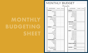 Monthly Payment Sheet Monthly Budgeting Sheet Create Cultivate