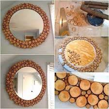 wood slice mirror on birch wood slice wall art with craftionary