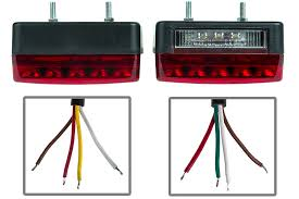 combo led trailer light kit 4 led stop turn tail light with 23 amber and red leds showing bottom profile and wire ends of each light