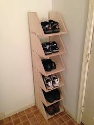 diy shoe shelf ideas. diy shoe rack from wood in the corner diy shelf ideas
