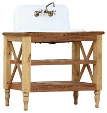 42 reclaimed wood french vanity high back cast iron farm sink stand package